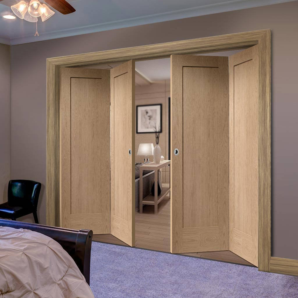 Bespoke Thrufold Pattern 10 Oak 1 Panel Folding 2+2 Door - Prefinished