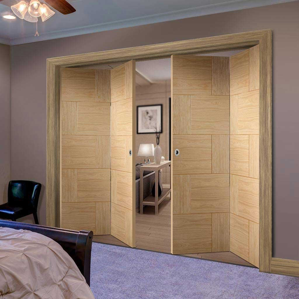 Bespoke Thrufold Ravenna Oak Flush Folding 2+2 Door - Prefinished