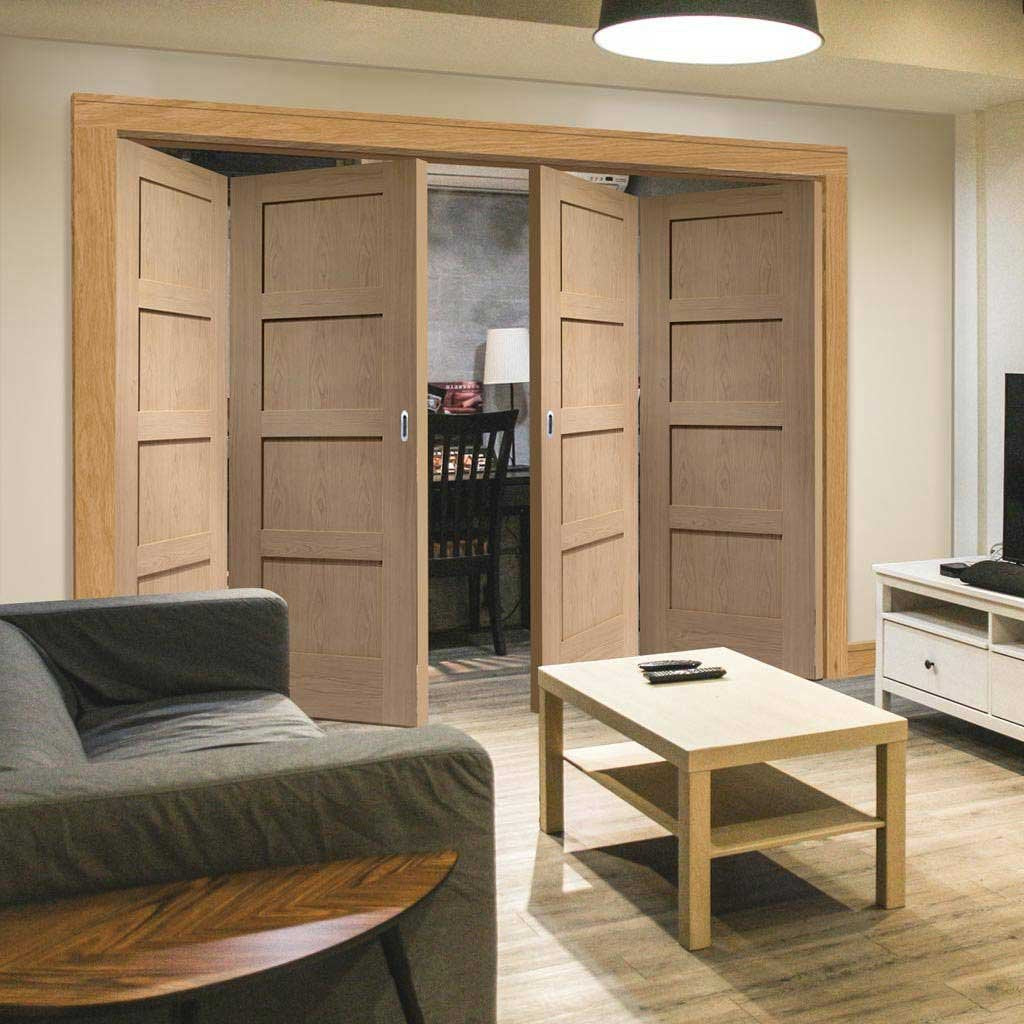 Bespoke Thrufold Shaker Oak 4 Panel Folding 2+2 Door - Prefinished