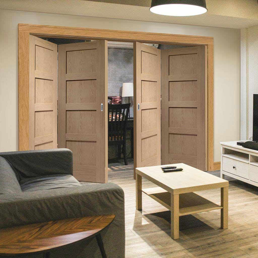 Four Folding Doors & Frame Kit - Shaker Oak 4 Panel 2+2 - Prefinished