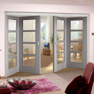 Image: Four Folding Doors & Frame Kit - Vancouver Light Grey 2+2 - Clear Glass - Prefinished