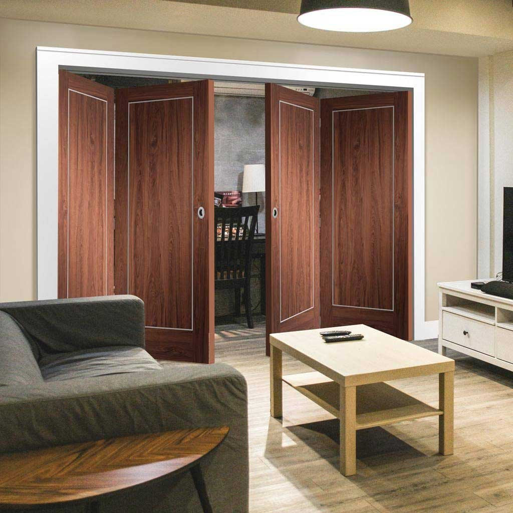 Bespoke Thrufold Varese Walnut Flush Folding 2+2 Door - Aluminium Inlay - Prefinished