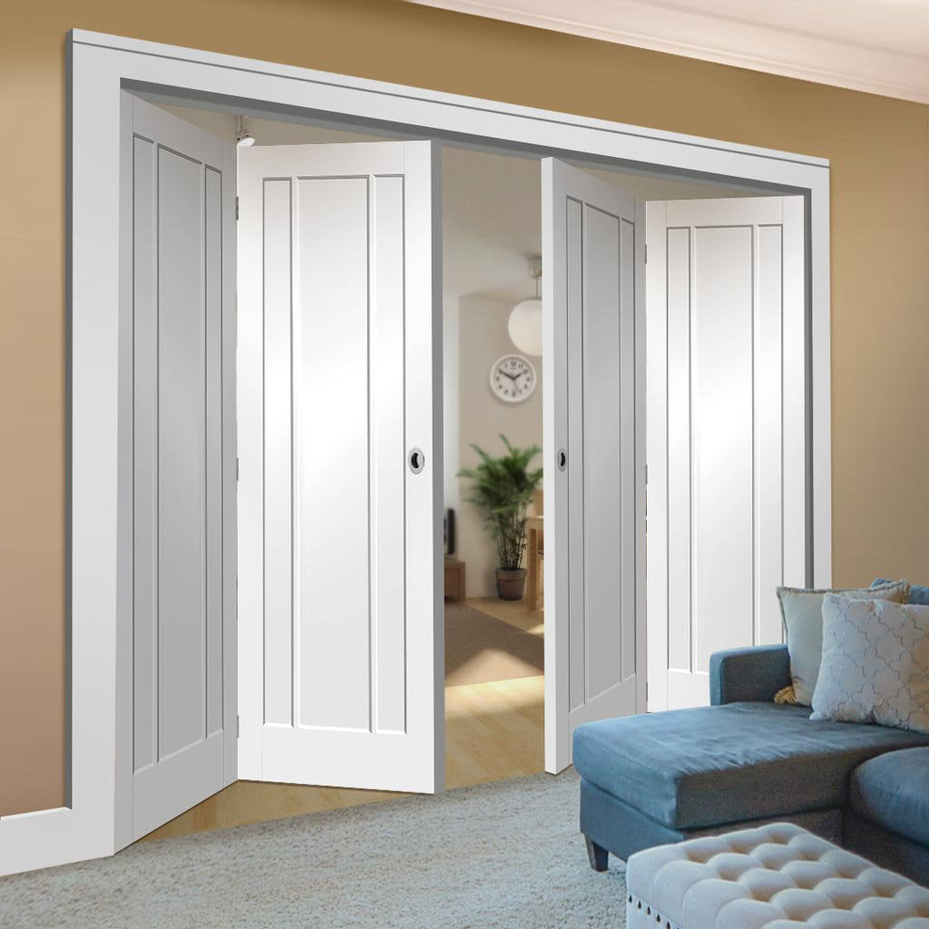 Bespoke Thrufold Worcester White Primed 3P Folding 2+2 Door