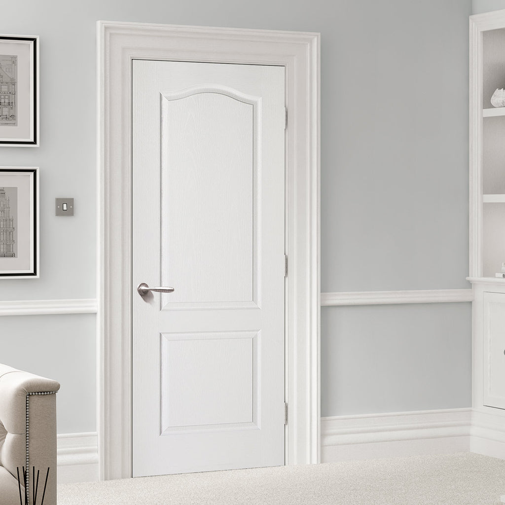 textured classical 2 panel door white primed