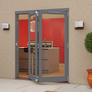 Image: Jeld-Wen Darwin Dusky Grey Painted Hardwood Fold and Slide Patio Doorset, GDAR182R, 2 Right, 1794mm Wide
