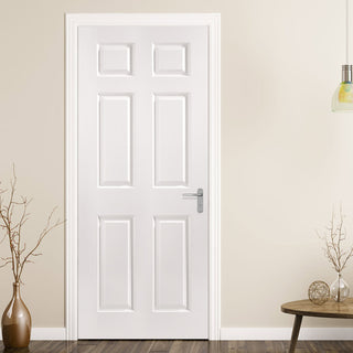 Image: JELD-WEN Bostonian 6 Panel 35mm Woodgrained Fire Door - White Primed