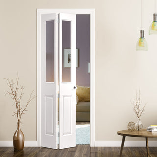 Image: JELD-WEN Atherton 2 Light Clear Glazed Smooth Bi-fold - White Primed