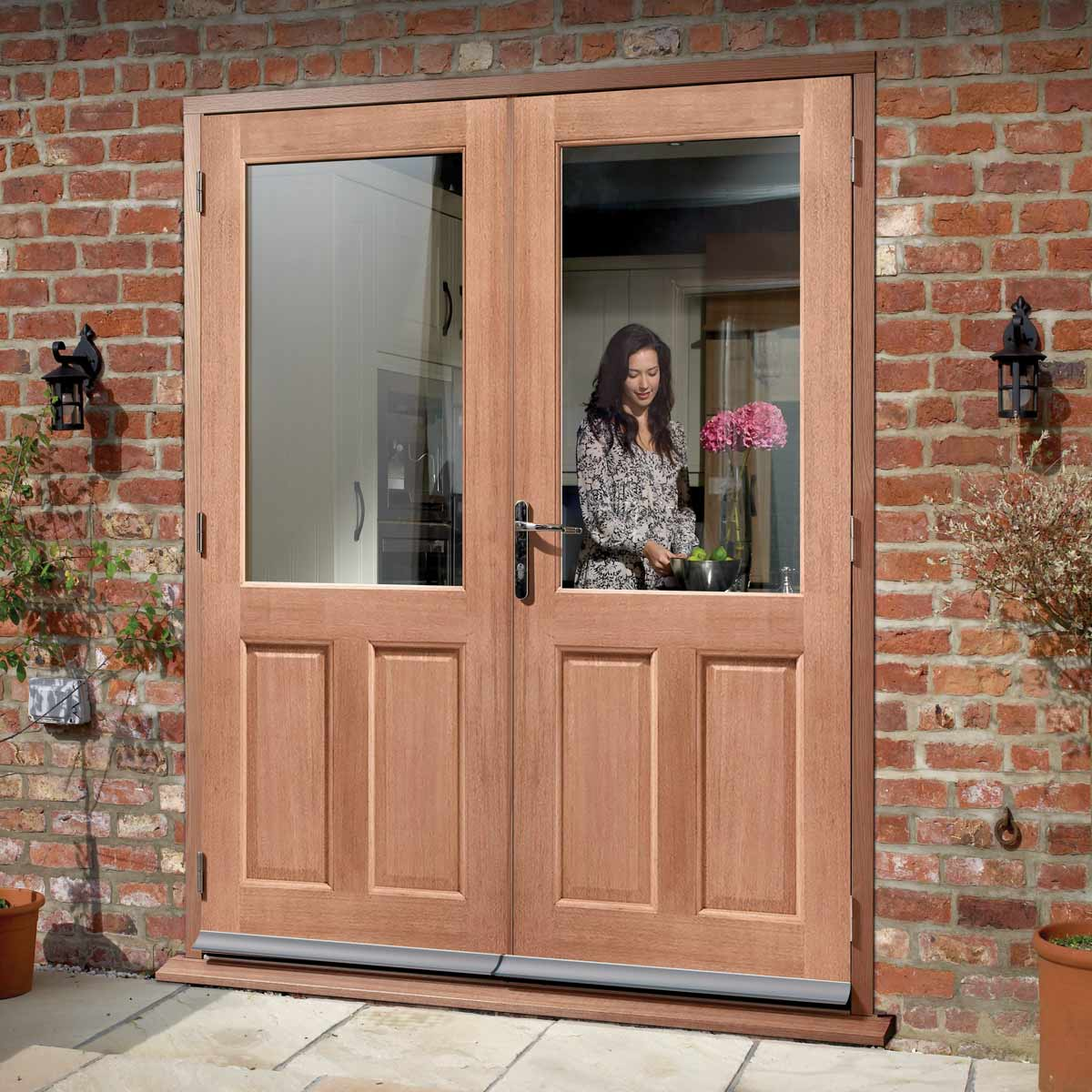 2XG External Mahogany Dowelled Double Door and Frame Set - Clear Double Glazing