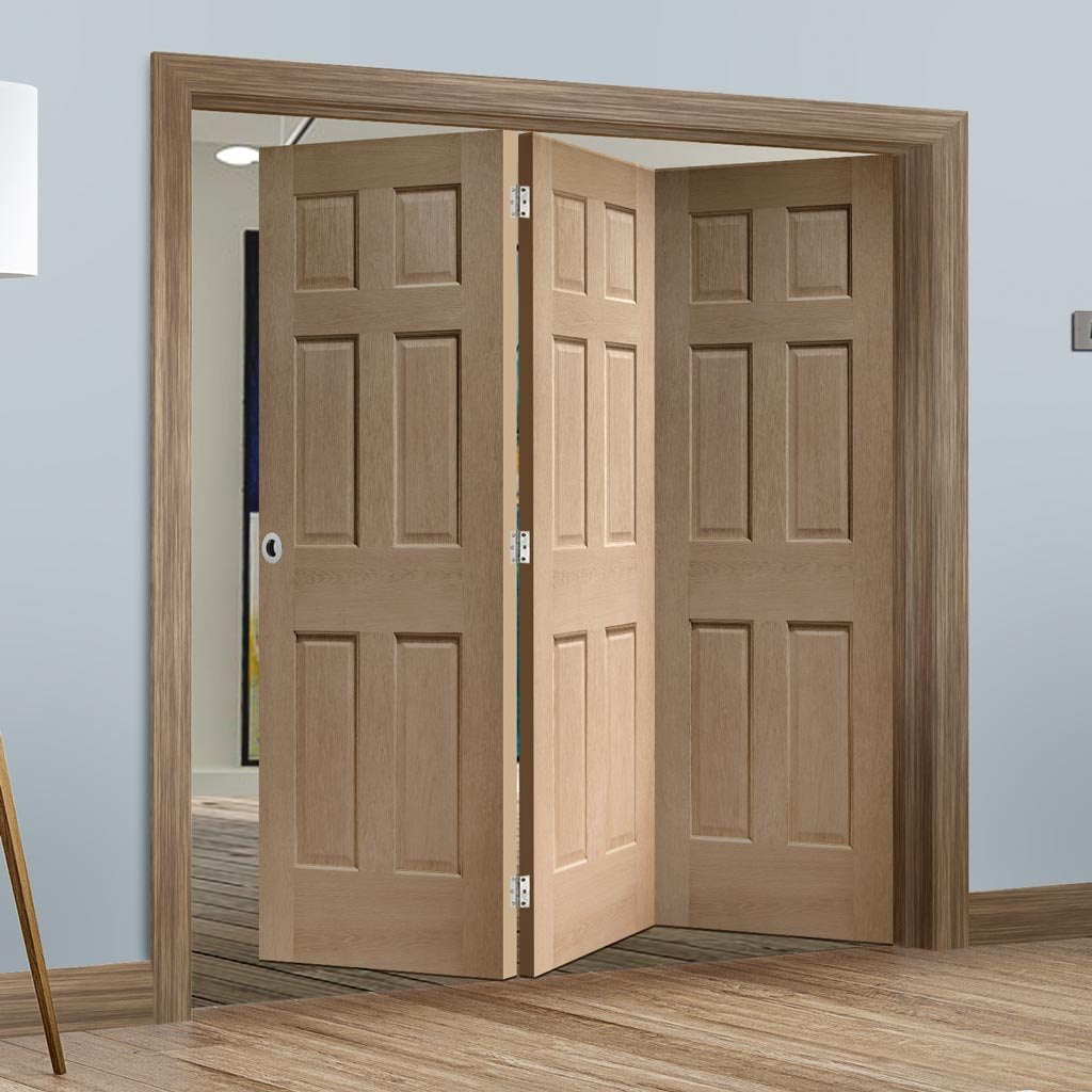 Bespoke Thrufold Colonial Oak 6 Panel Folding 3+0 Door - No Raised Mouldings