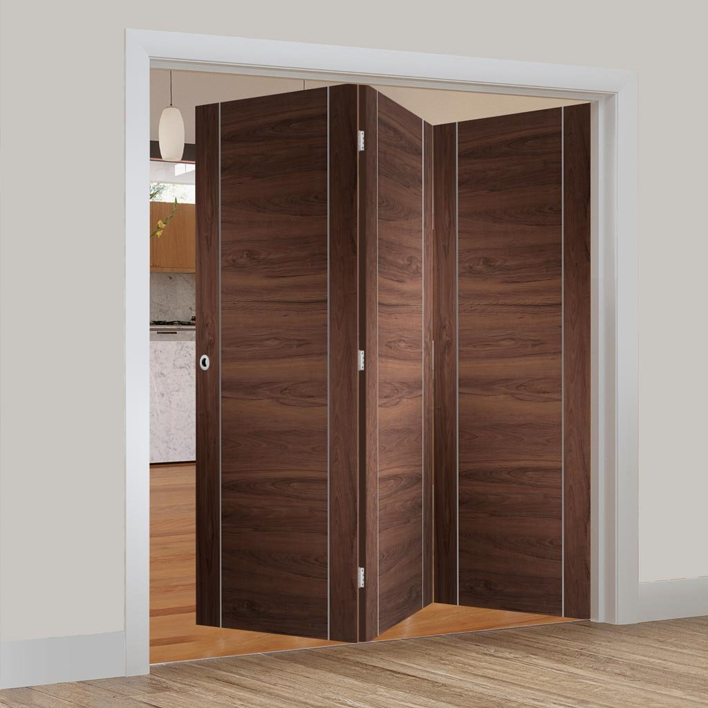 Bespoke Thrufold Forli Walnut Flush Folding 3+0 Door - Aluminium Inlay - Prefinished