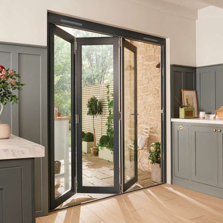 Image: JELDWEN Bedgebury Grey 3+0 Folding Patio Doorset - Clear Double Glazing - Fully Finished