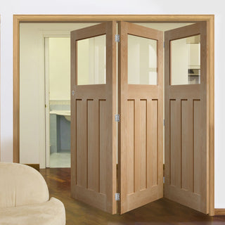 Image: Bespoke Thrufold DX 1930's Oak Glazed Folding 3+0 Door - Prefinished