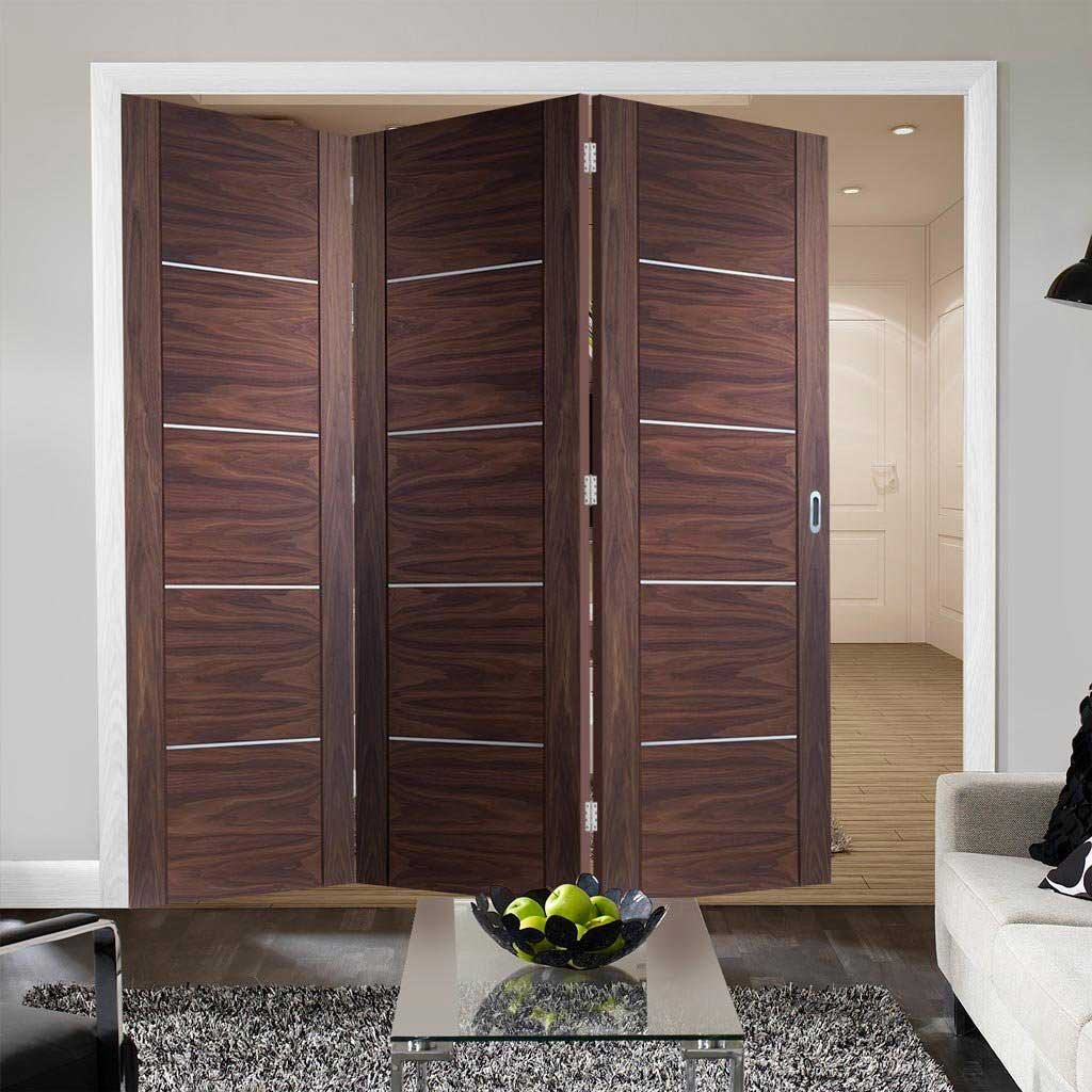 Bespoke Thrufold Portici Walnut Flush Folding 3+0 Door - Aluminium Inlay - Prefinished