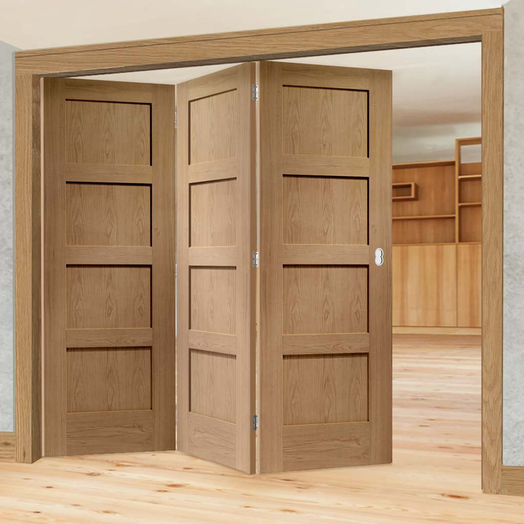 Bespoke Thrufold Shaker Oak 4 Panel Folding 3+0 Door - Prefinished