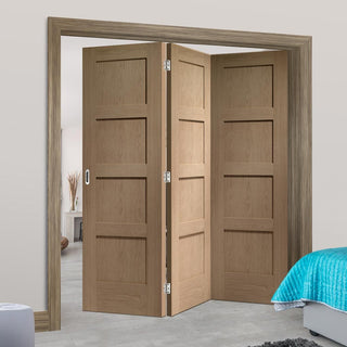 Image: Bespoke Thrufold Shaker Oak 4 Panel Folding 3+0 Door