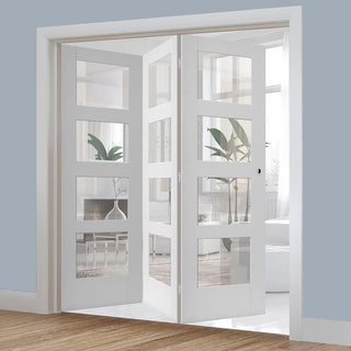 Image: Bespoke Thrufold Shaker 4L White Primed Glazed Folding 3+0 Door
