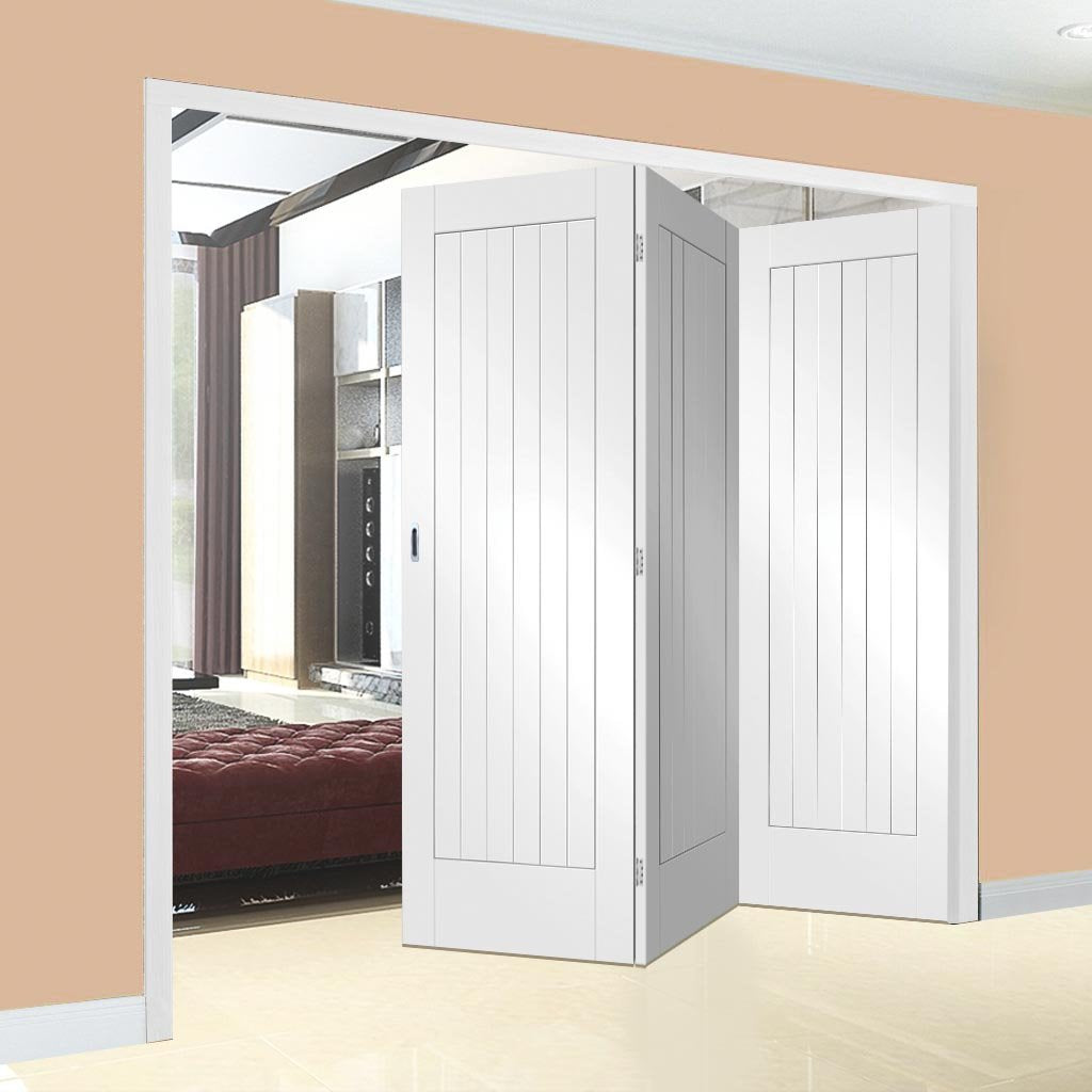 Bespoke Thrufold Suffolk Flush White Primed Folding 3+0 Door