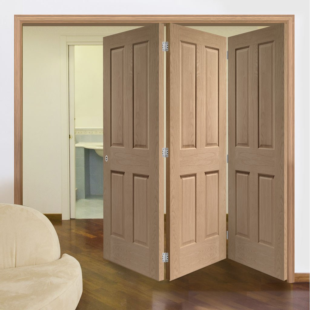Three Folding Doors & Frame Kit - Victorian Oak 4 Panel 3+0 - No Raised Mouldings - Prefinished