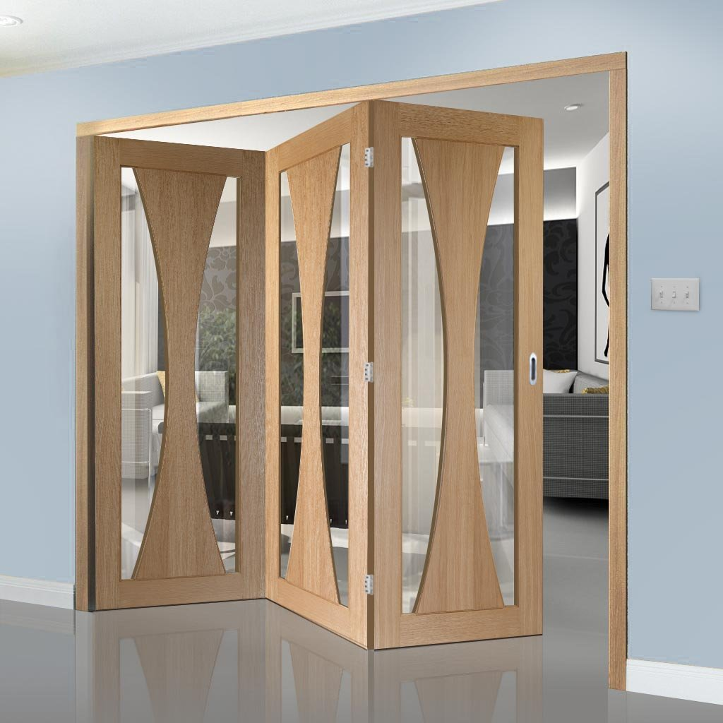 Three Folding Doors & Frame Kit - Verona Oak 3+0 - Clear Glass - Prefinished