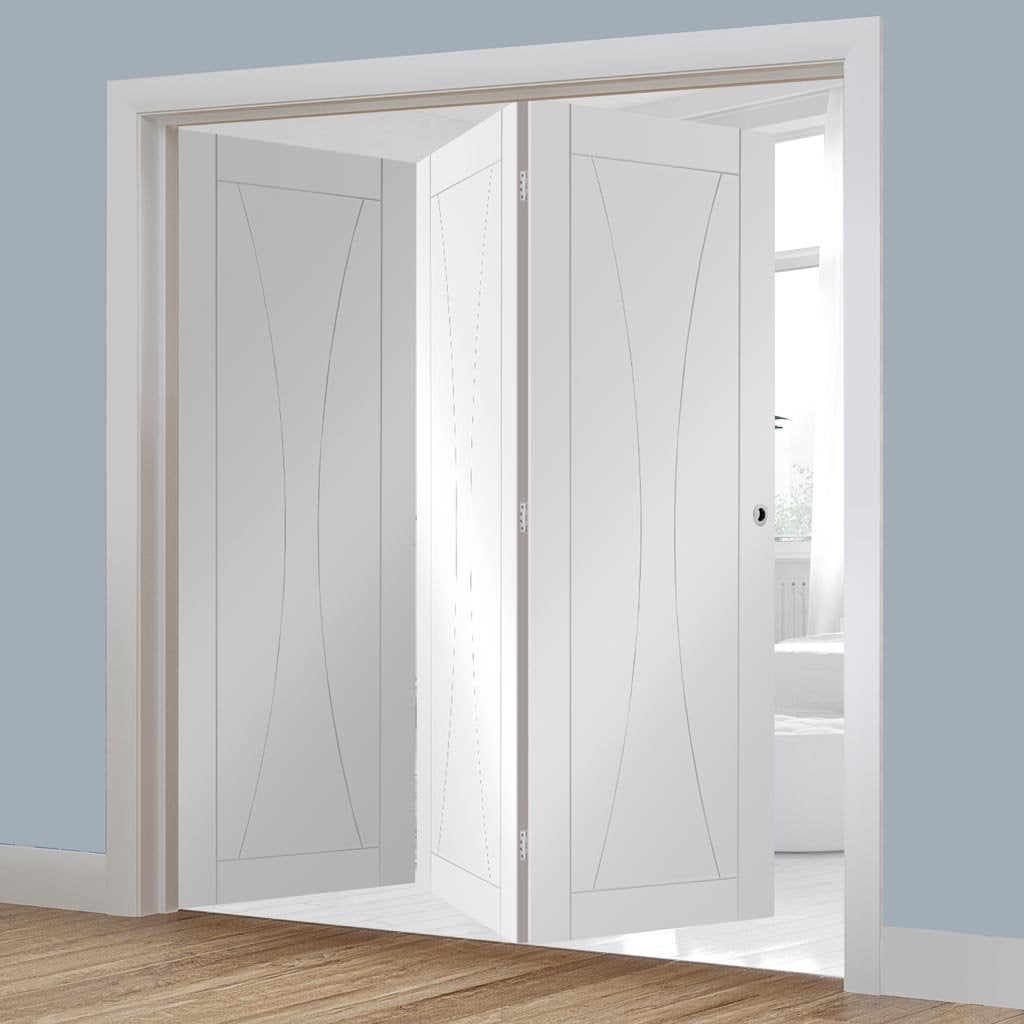 Bespoke Thrufold Verona White Primed Flush Folding 3+0 Door