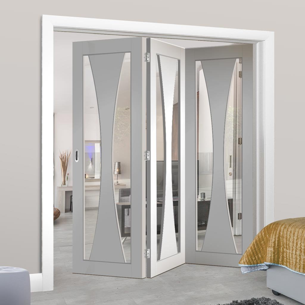 Bespoke Thrufold Verona White Primed Glazed Folding 3+0 Door