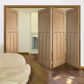 Image: Four Folding Doors & Frame Kit - DX 1930'S Oak Panel 3+1 - Prefinished