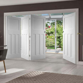 Image: Four Folding Doors & Frame Kit - DX 1930's Panel 3+1 - White Primed