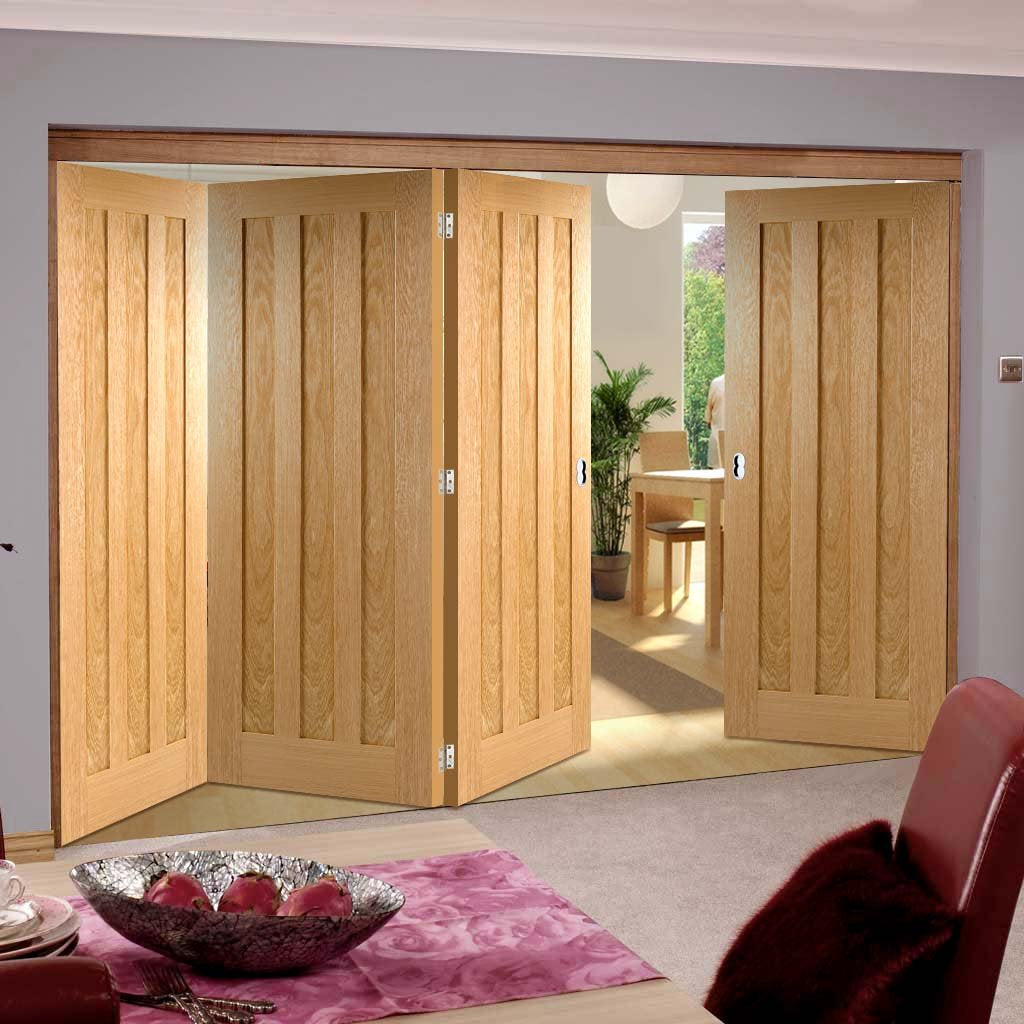 Four Folding Doors & Frame Kit - Idaho 3 Panel Oak 3+1 - Prefinished