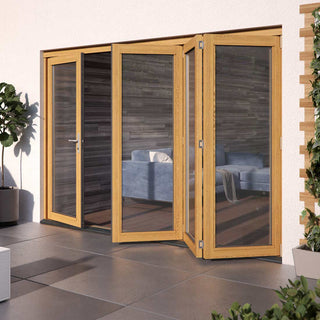 Image: JELDWEN Kinsley Golden Oak 3+1 Folding Patio Doorset - Clear Double Glazing - Stained