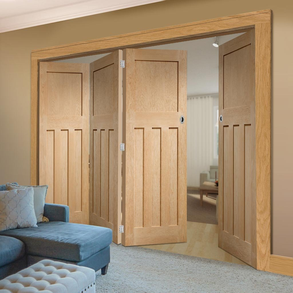 Bespoke Thrufold DX Oak Panel Folding 3+1 Door 1930's Style