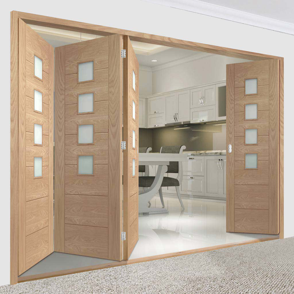 Four Folding Doors & Frame Kit - Palermo Oak 4 Pane 3+1 - Obscure Glass - Unfinished