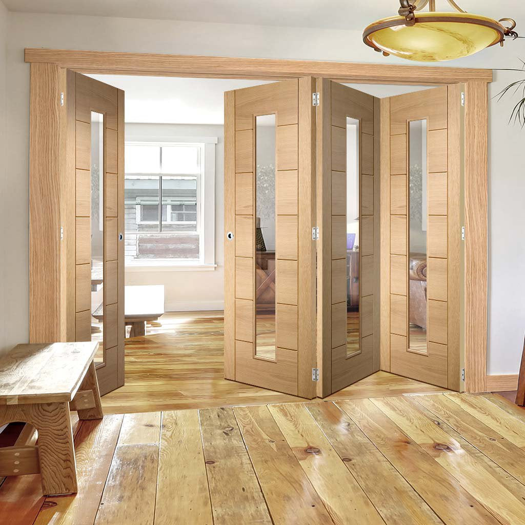 Four Folding Doors & Frame Kit - Palermo Oak 1 Pane 3+1 - Clear Glass - Prefinished