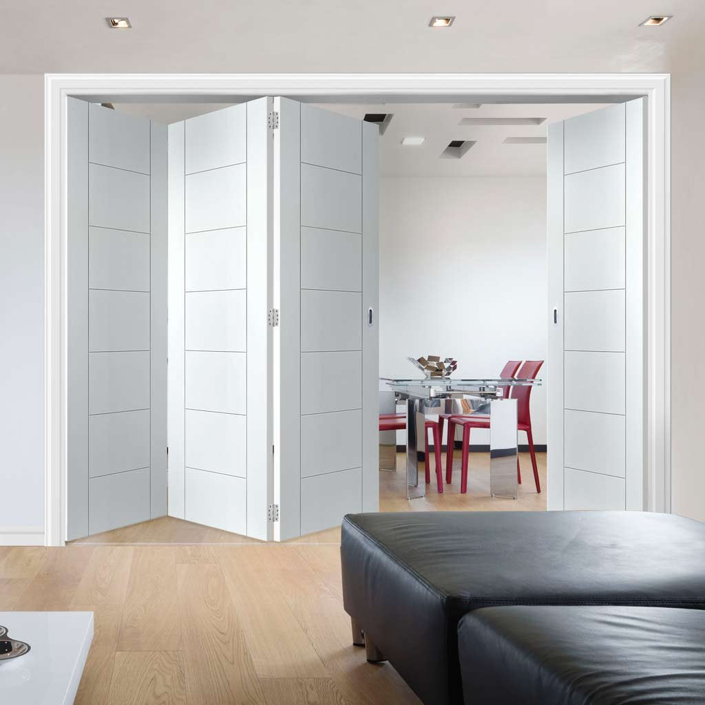 Bespoke Thrufold Palermo White Primed Flush Folding 3+1 Door