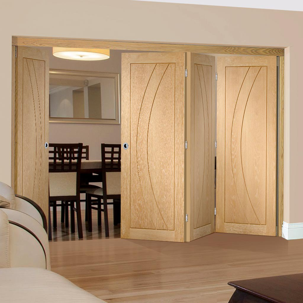 Four Folding Doors & Frame Kit - Salerno Oak Flush 3+1 - Prefinished