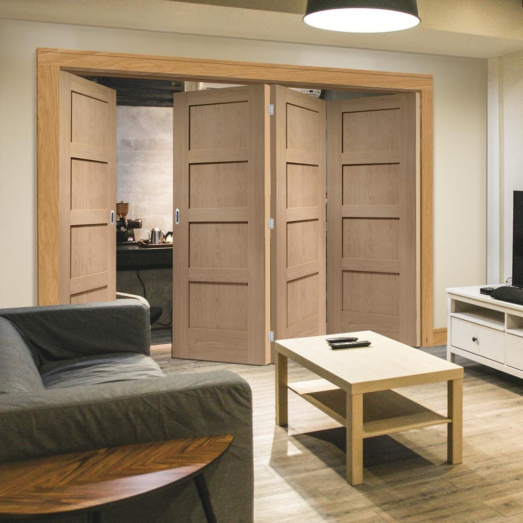 Four Folding Doors & Frame Kit - Shaker Oak 4 Panel 3+1 - Prefinished