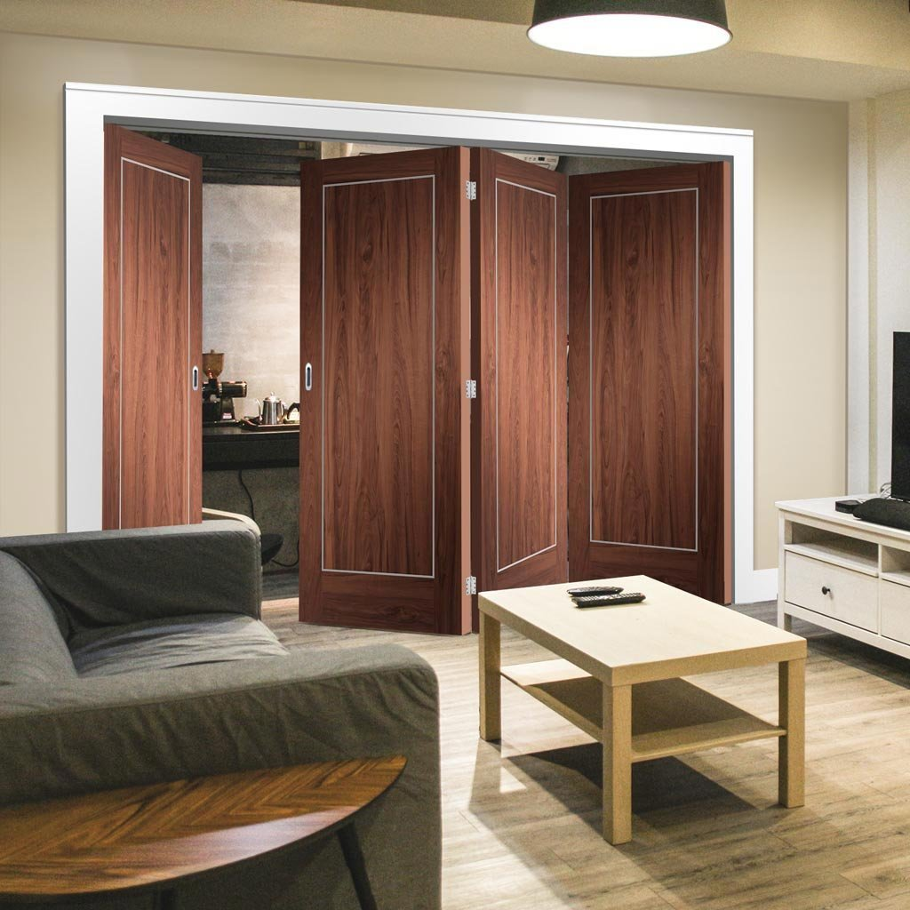Bespoke Thrufold Varese Walnut Flush Folding 3+1 Door - Aluminium Inlay - Prefinished