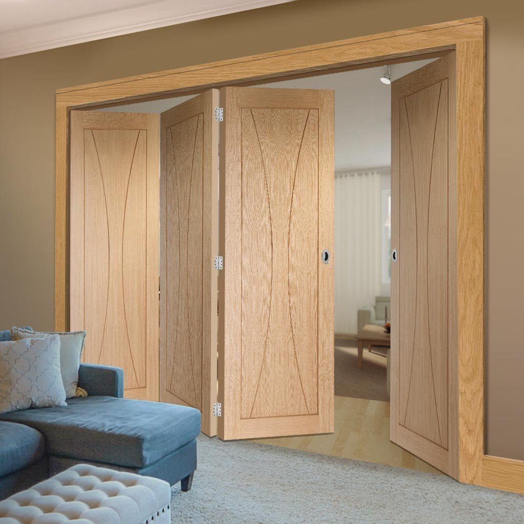 Four Folding Doors & Frame Kit - Verona Oak Flush 3+1 - Unfinished