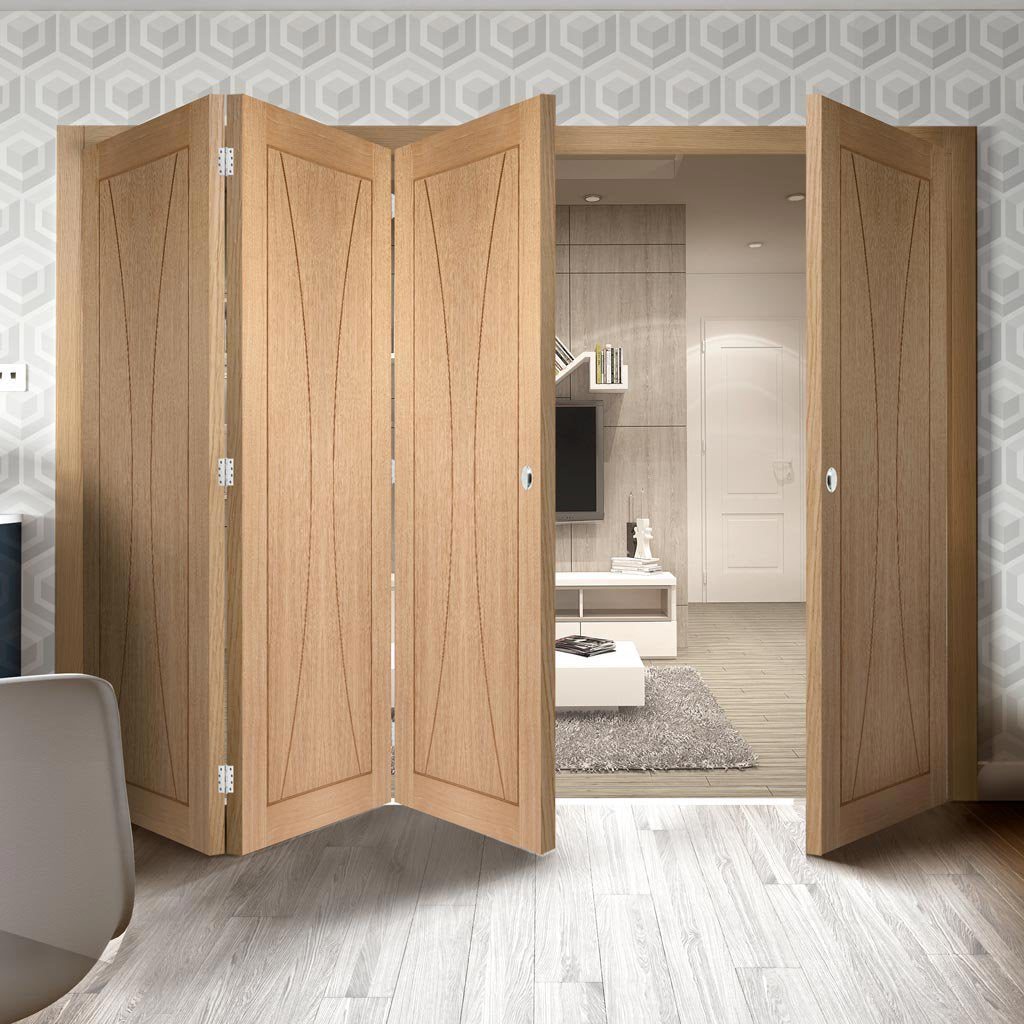 Four Folding Doors & Frame Kit - Verona Oak Flush 3+1 - Prefinished