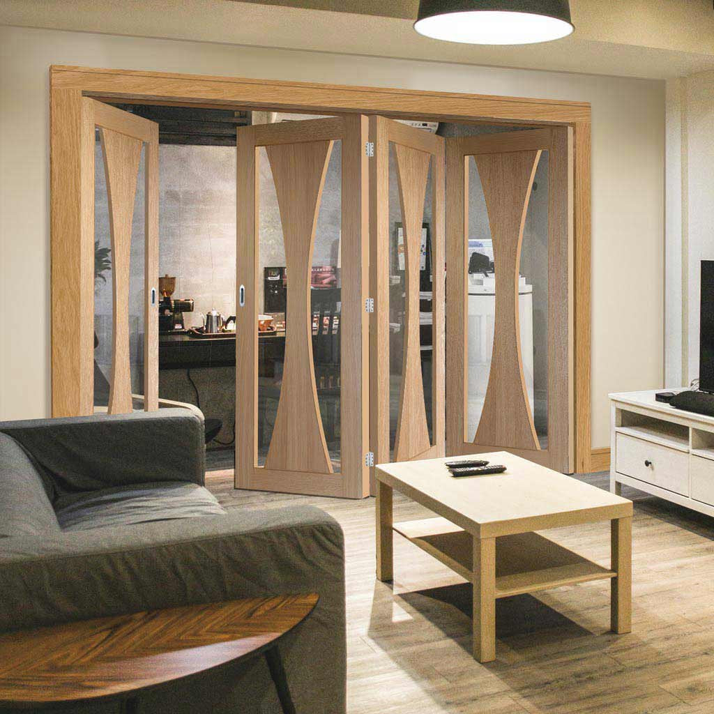 Bespoke Thrufold Verona Oak Glazed Folding 3+1 Door - Prefinished