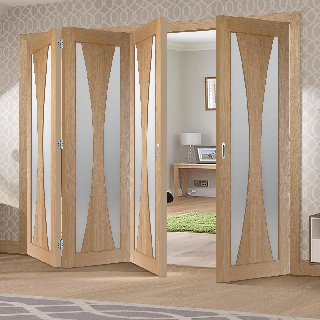 Four Folding Doors & Frame Kit - Verona Oak 3+1 - Obscure Glass - Unfinished