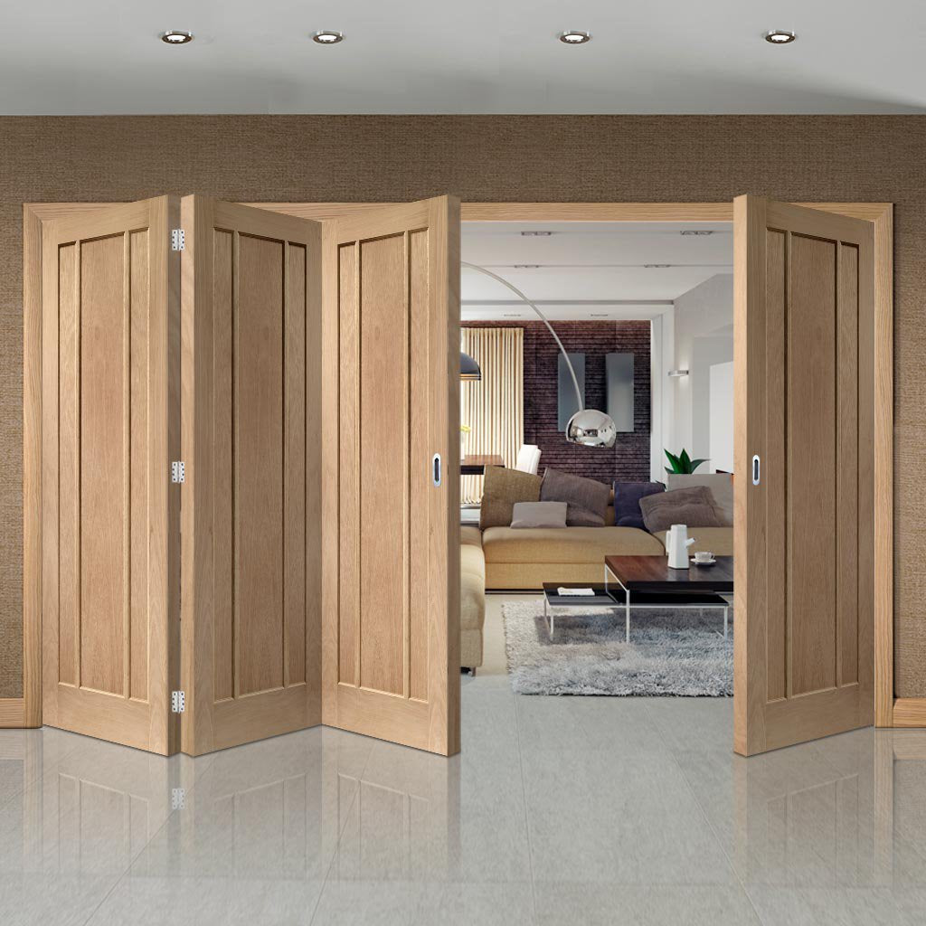 Four Folding Doors & Frame Kit - Worcester Oak 3 Panel 3+1 - Unfinished