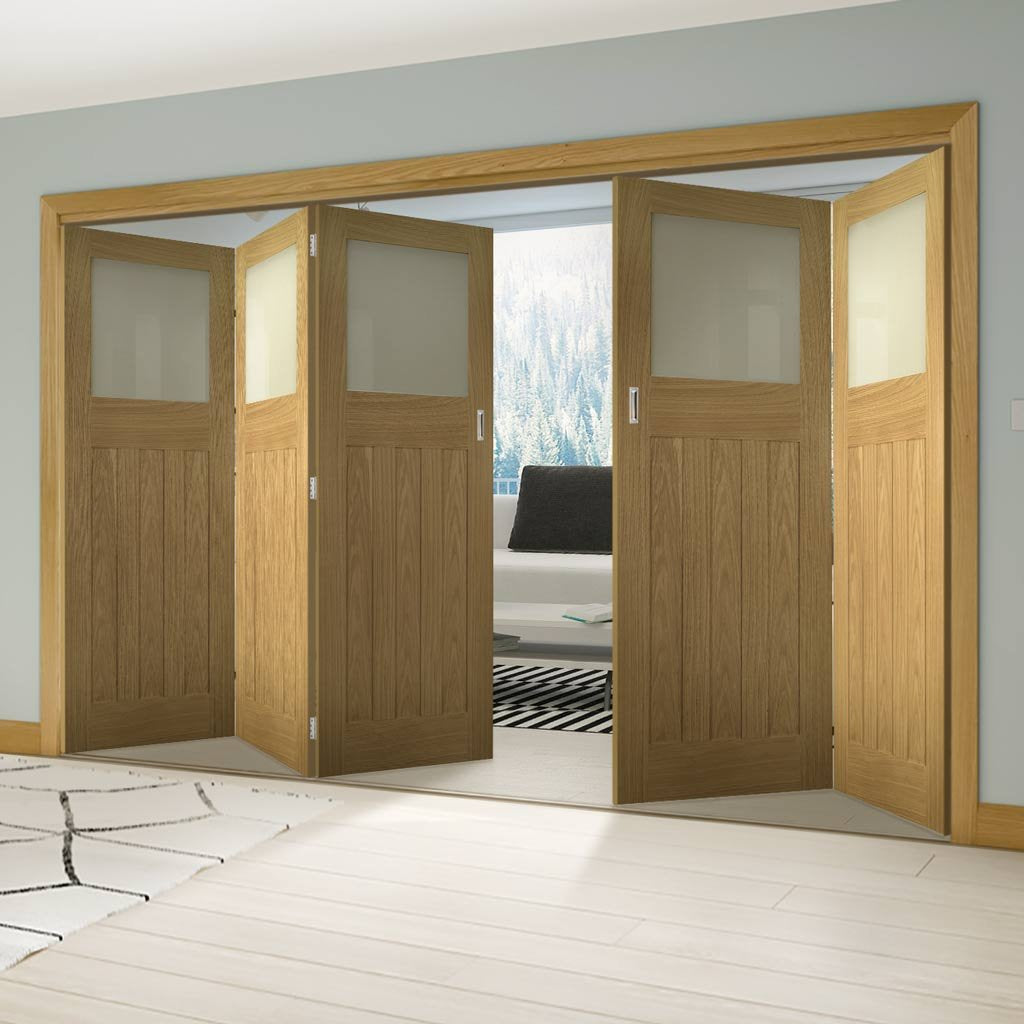 Five Folding Doors & Frame Kit - Cambridge Period Oak 3+2 - Frosted Glass -  Unfinished