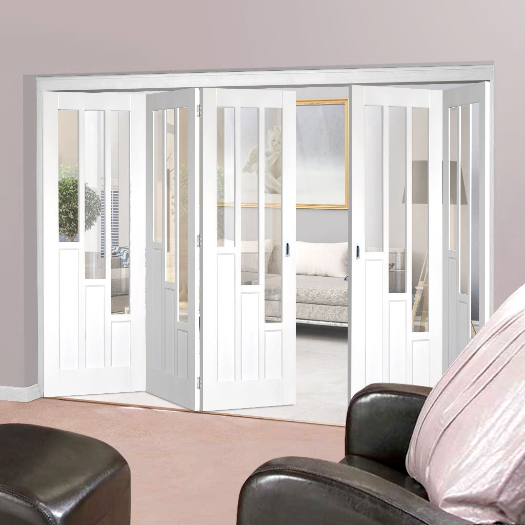 Five Folding Doors & Frame Kit - Coventry 3+2 - Clear Glass - White Primed