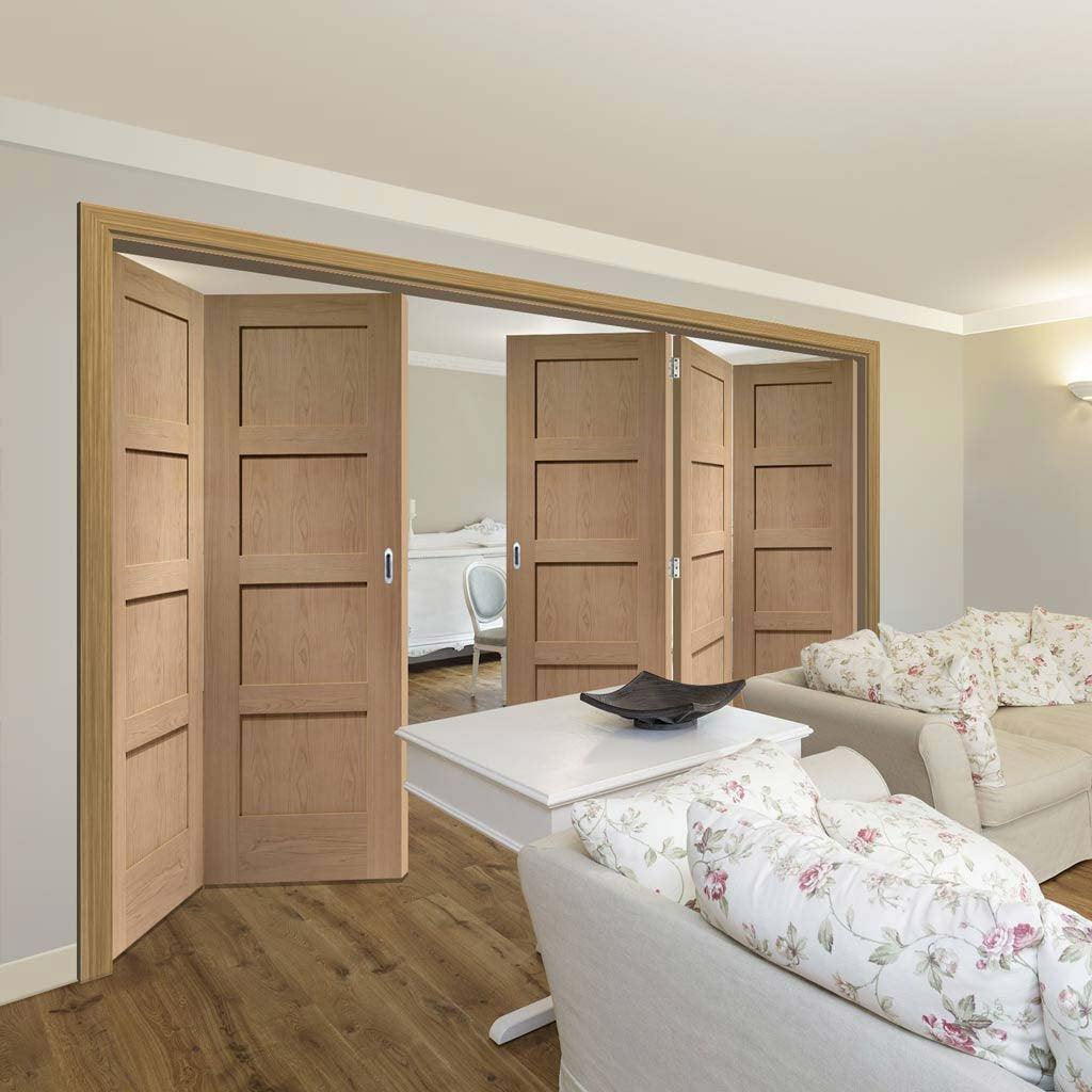 Five Folding Doors & Frame Kit - Shaker Oak 4 Panel Solid 3+2 - Unfinished