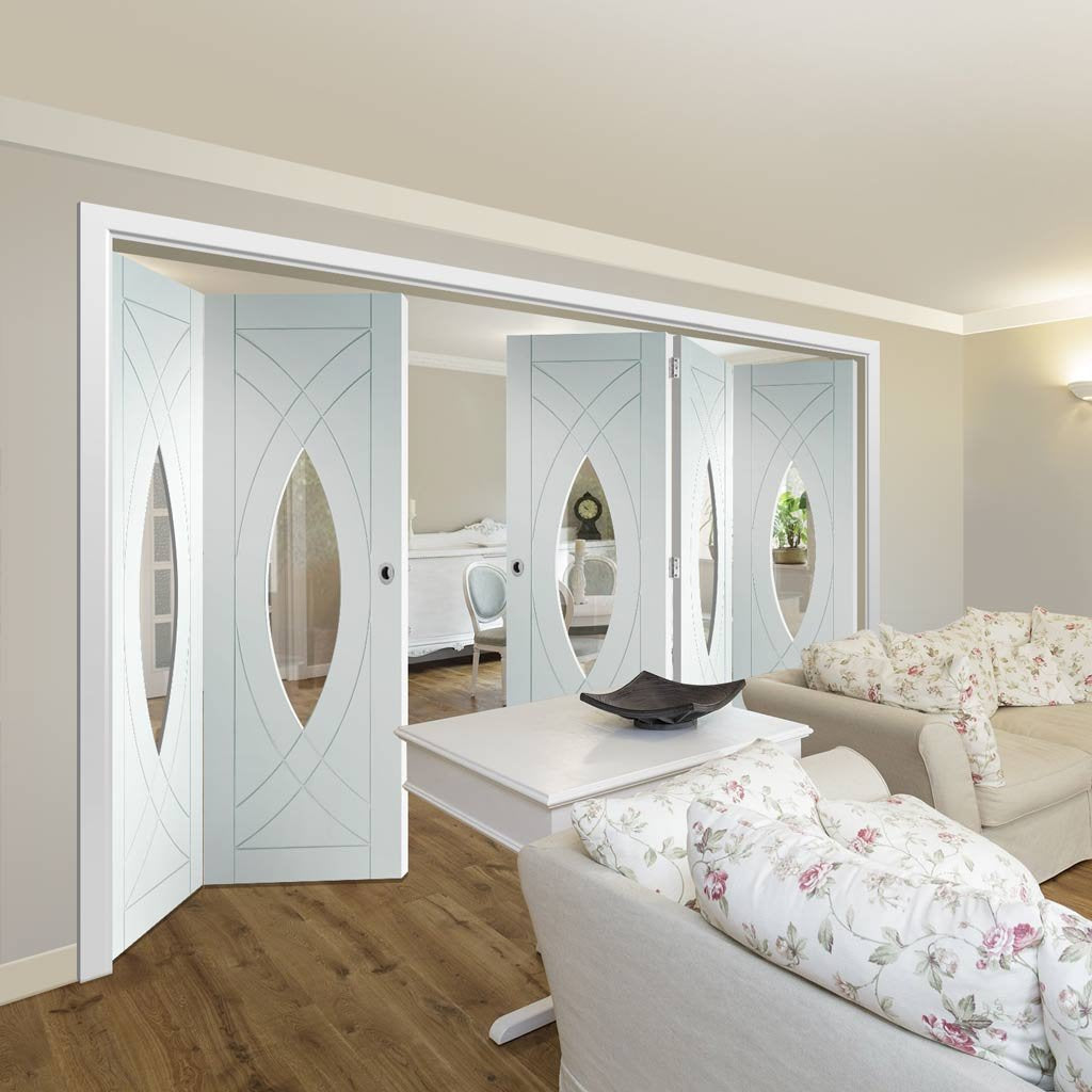 Bespoke Thrufold Treviso White Primed Glazed Folding 3+2 Door