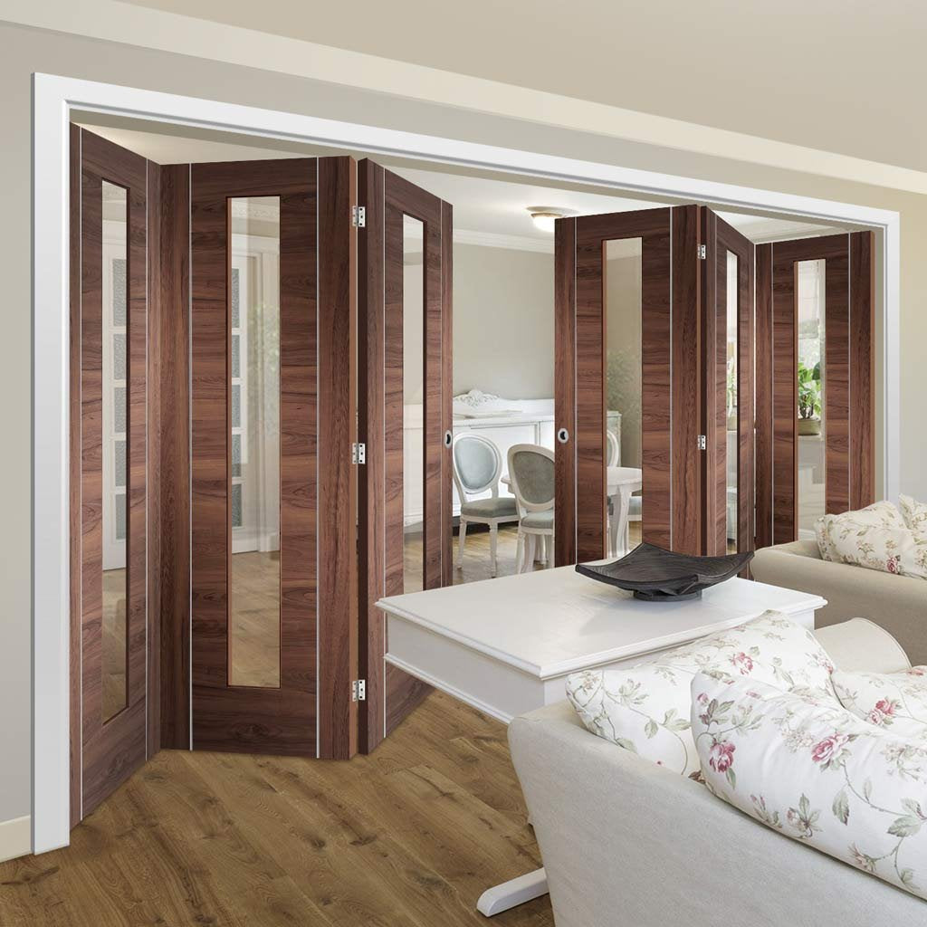Bespoke Thrufold Forli Walnut Glazed Folding 3+3 Door - Aluminium Inlay - Prefinished