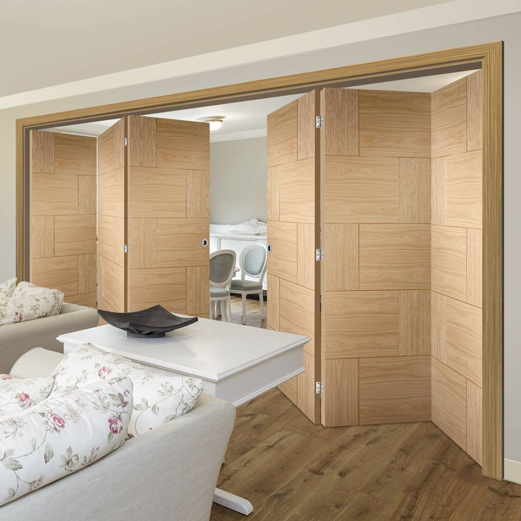 Six Folding Doors & Frame Kit - Ravenna Oak Flush 3+3 - Unfinished