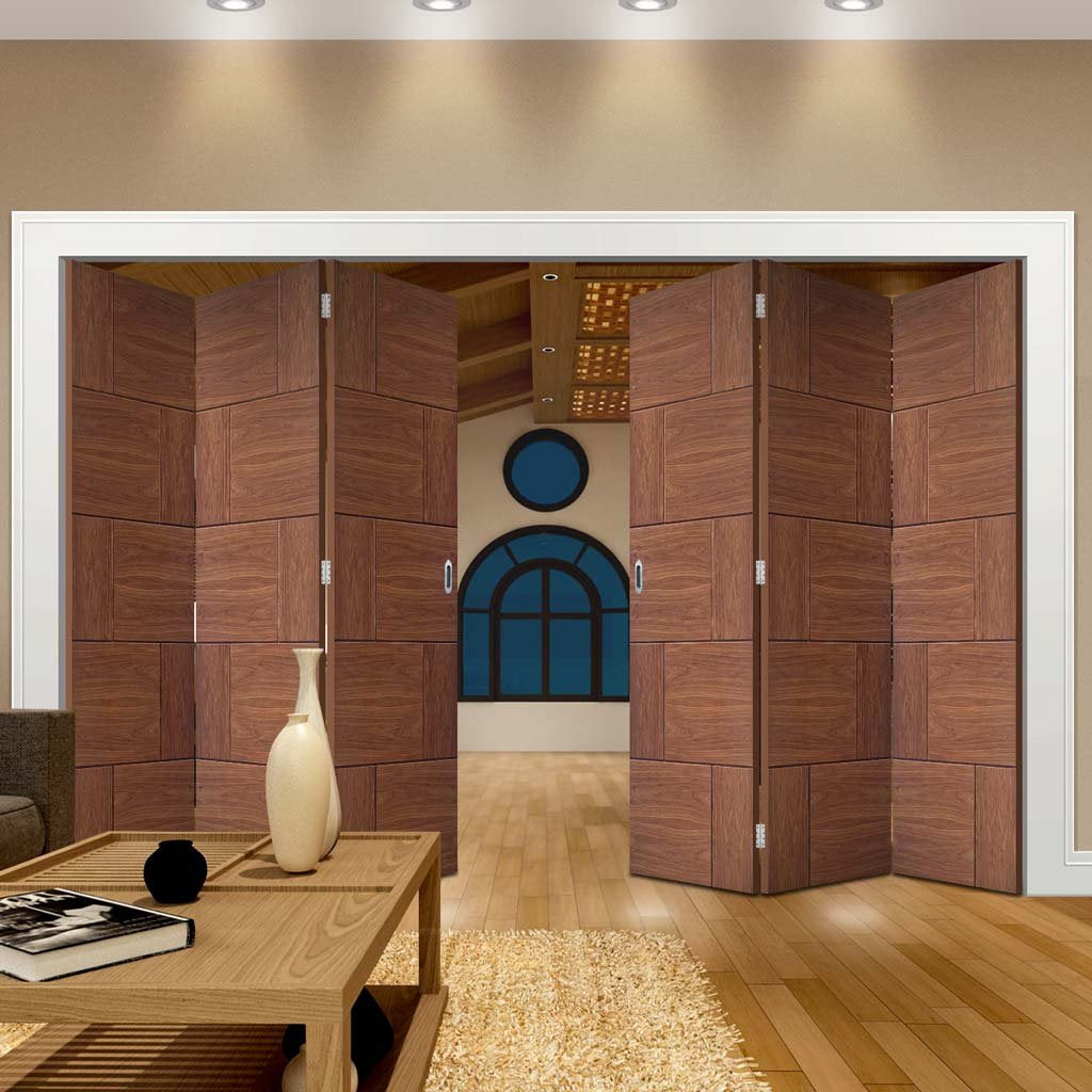 Bespoke Thrufold Ravenna Walnut Flush Folding 3+3 Door - Prefinished