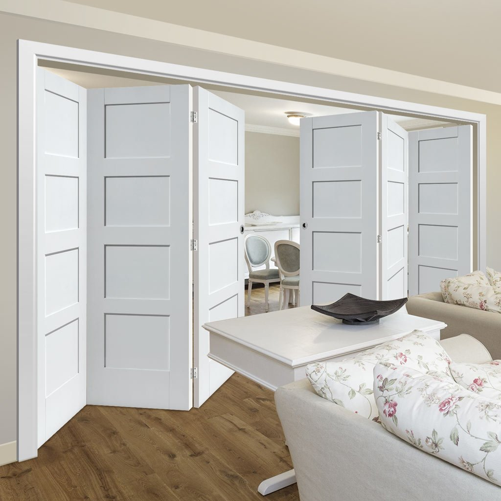 Six Folding Doors & Frame Kit - Shaker 4 Panel 3+3 - White Primed