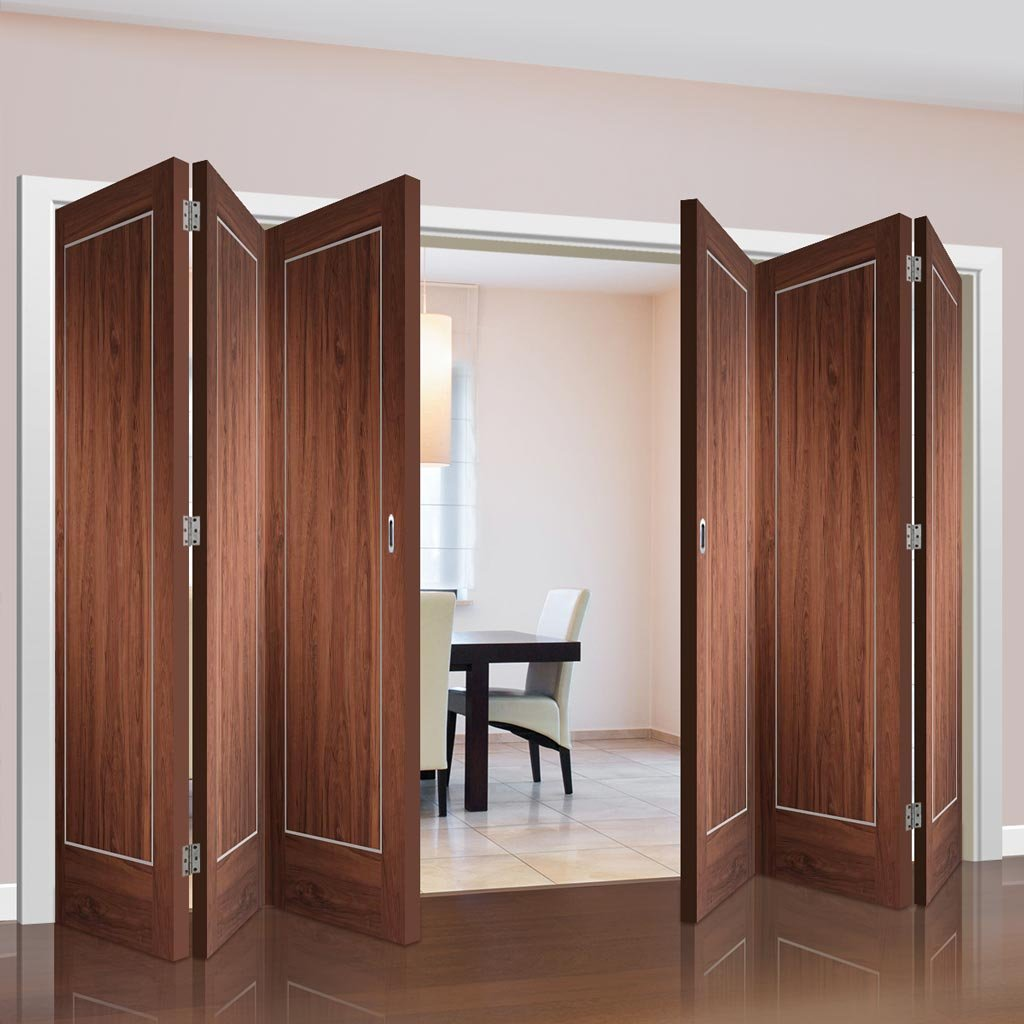 Bespoke Thrufold Varese Walnut Flush Folding 3+3 Door - Aluminium Inlay - Prefinished